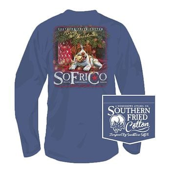 Waiting for Santa Long Sleeve Tee in Summer Shadow by Southern Fried Cotton
