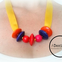 Wood Bead Necklace, Satin Ribbon Necklace, Geometric Necklace, Wooden Jewelry, Eco-Friendly, Color Block Wood Necklace