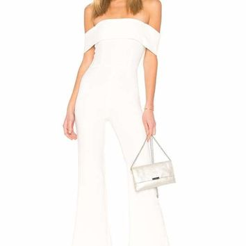 Kristy White Off Shoulder Bodycon Jumpsuit