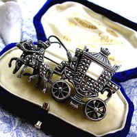 Art Deco Silver Marcasite Brooch Cinderella\'s Coach Royal Carriage ... | kittysantiquejewelry - Jewelry on ArtFire