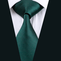 Men Tie Green Solid Neck Tie Silk Jacquard Ties For Men Business Wedding Party