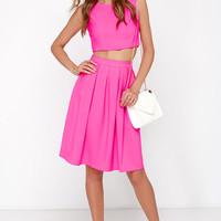 Splendidly Spry Hot Pink Two-Piece Midi Dress