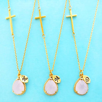 Set of 1-4, Personalized, Letter, Initial, Sideway, Cross, Ice pink, Glass, Stone, Gold, Silver, Necklace, Sets, Wedding, Bridal, Gift