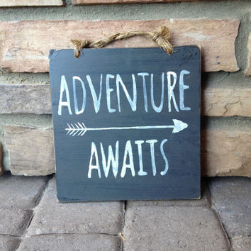 Adventure Awaits Wood Sign / Home Decor / Ski Decor / Cabin Decor