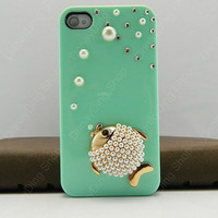 Case for  iphone Bling  crystal iphone 4  Bling shining fish  Case for iphone 4/4s/5