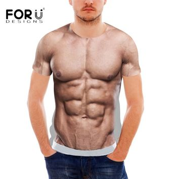 FORUDESIGNS Funny 3D Muscle Print T Shirt for Men Designer Crossfit Male Casual Tee Shirts Summer Style Short Sleeve Men Top Tee