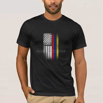 Colombian + American Flag T-Shirt Novelty Tee