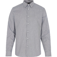 River Island MensNavy stripe long sleeve shirt