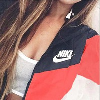 NIKE men and women tide brand casual sportswear jacket coat windbreaker sportswear Red-1