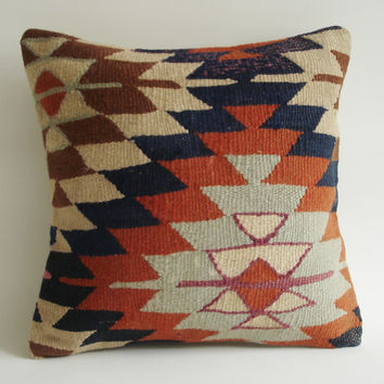 Sukan / Handwoven Vintage Turkish Kilim Pillow Cover, Decorative Pillows, Throw Pillow,  16x16 inch Navy Blue, Cream, Orange