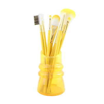 "Cosmopolitan 7Pc Makeup Brush And Holder Set 8.66""""X1.96""""X2.55"""" Yellow: Yellow"