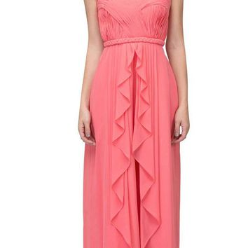 Starbox USA 6195 Coral Draped Formal Dress Ruched Bodice Strapless