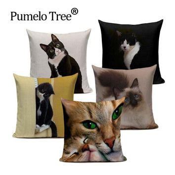 Cute Cat New Linen Cushion Cover