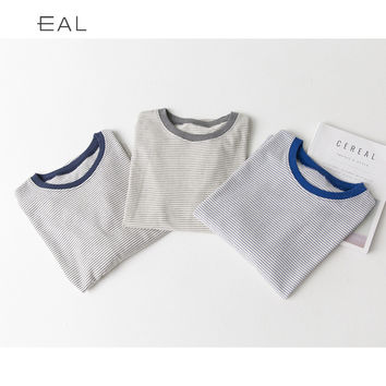 Long Sleeve Tops Korean Cotton Stripes Round-neck T-shirts [6466183428]