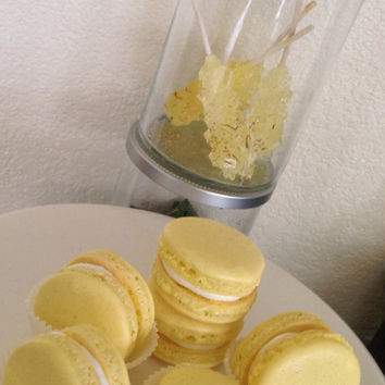 Saffron flavored French macarons in a decorative box 6ct.