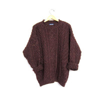 Chunky Wool Knit Fishermen Sweater Thick Cable Knit Purple Speckled Lands End Jumper Boho Mock Neck Soft Wool Vintage Womens Large