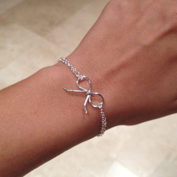 Silver bow bracelet Love knot bow knot by jackandhazelstore