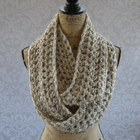 Ready To Ship Infinity Scarf Oatmeal Alpaca Wool Blend Fall Winter Women's Accessory Infinity