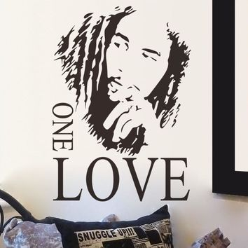 Fashion Free Shipping BOB MARLEY One Love Mural Removable Decal Room Wall Sticker Vinyl Art Decor Stickers KW-88