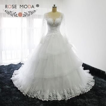 Rose Moda Sheer O Neck Long Sleeves Princess Wedding Ball Gown Illusion Back Wedding Dresses 2017 Custom Made