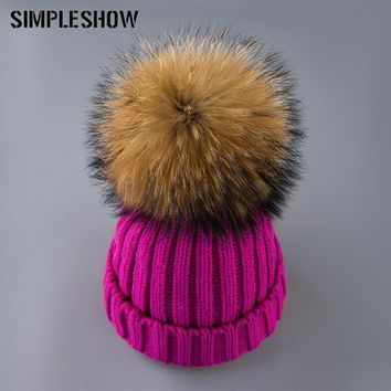 SIMPLESHOW 2017 Winter Hat Women fox fur ball cap Hat For Women Skullies Beanies Knitted girl Hat Ladies knitted beanies cap