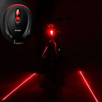 2 Laser Projector Red Lamps Beam and 3 LED Rear Tail Lights Bicycle Accessories
