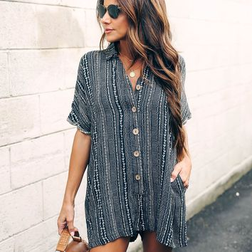 Pacific Grove Pocketed Button Down Romper - FINAL SALE