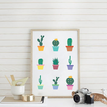 Little Cactus Print, Cactus Wall Art, Wall Decor, Wall Art, Plant Print, Plant Wall Art, Cool Home Decor, Kids Room Decor, Nursery Wall Art.