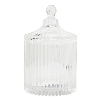 Ridged Glass Lidded Storage Jar Large