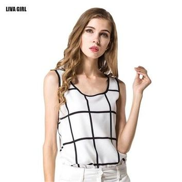 Hot Sale New Brand Summer Women Tanks Casual Fitness Sleeveless Loose Tank Top T-shirt Fashion Feminina Plaid Chiffon Blusa