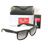 Authentic Ray-ban Justin RB 4165 622/T3 55mm Rubber Black / Grey Gradient Polarized