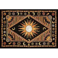 Handmade Cotton Celestial Sun Moon Star Tapestry Spread Twin Orange Black 70x104