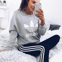 """Adidas"" Fashion Print Pullover Tops Sweater Sweatshirts"