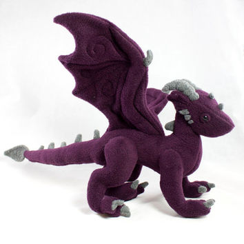 Dragon Stuffed Animal Plush Toy Dark Purple