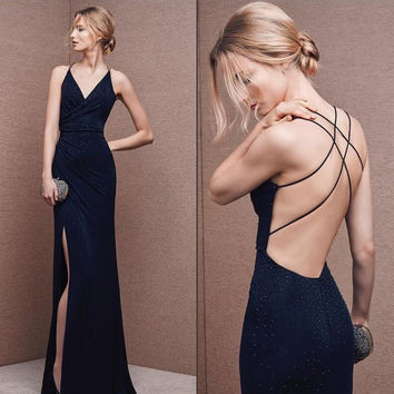 V-Neck Open Back Sleeveless Prom Dresses Evening Dresses