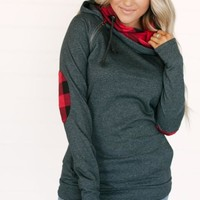 GREY AND RED BUFFALO PLAID AMPERSAND AVE DOUBLE HOOD