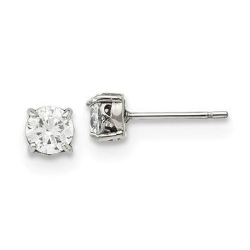 5mm Round CZ Stainless Steel Stud Earrings