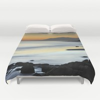 """Serenity beach"". Orange sunset Duvet Cover by Guido Montañés"