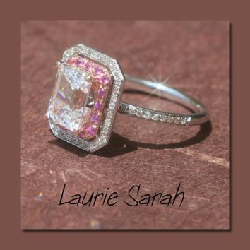 Moissanite, Diamond and Pink Sapphire Engagement Ring - LS536