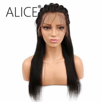 ALICE Silky Straight Pre Plucked Full Lace Human Hair Wigs 130 Density Remy Hair Brazilian Wigs For Black Women Bleached Knots