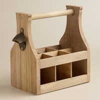 Wooden Bottle Caddy with Opener - World Market