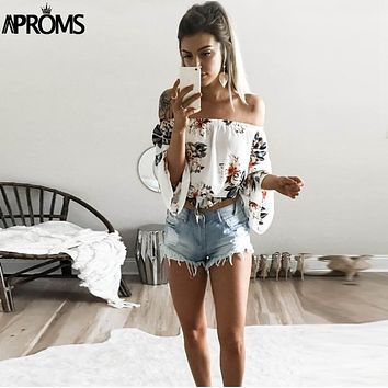 Aproms Flare Sleeve Boho Flower Print Tank Tops Elegant Off Shoulder Crop Top for Women Clothing Summer Streetwear Tees Camis