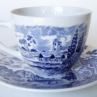 Vintage Blue & White Toile Transferware Tea Cup & Saucer Scenic English Countryside Foot Bridge Watermill