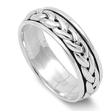 925 Sterling Silver Wicca Celtic Knot Spinner Ring 7MM