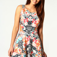 Anica Cut Out Sides Printed Skater Dress