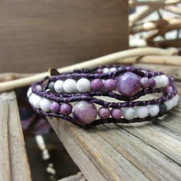 Purple Mist Charoite Purpurite Howlite White and Purple Handmade Leather Wrap Layer Bracelet with Japanese Powerstones by Off on a Whim