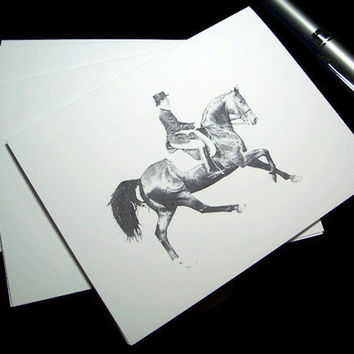 Note cards Dressage Horse Art Drawing Equine Equestrian Artwork Greeting Thank You Blank Card - Set of 6 w/ Envelopes