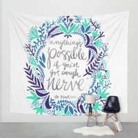 Anything's Possible – Silver & Blue Wall Tapestry by Cat Coquillette