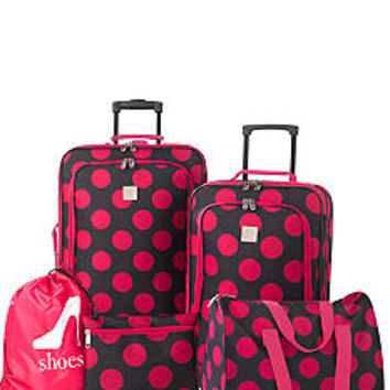 New Directions® 5-Piece Luggage Set - Pink Dot - Belk.com