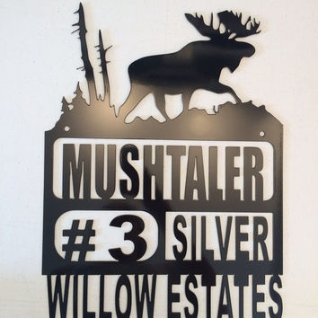Custom Metal Address Sign Personalized, moose address sign